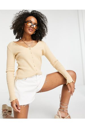 Pieces Organic cotton ribbed button front cardigan in camel