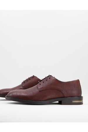 WALK LONDON Oliver derby shoes in brown etched leather