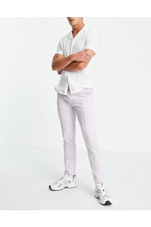 ASOS DESIGN Slim chinos with elasticated waist and pin tuck in lilac