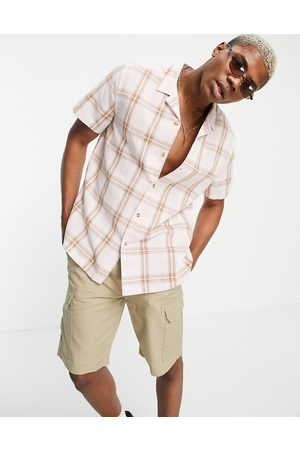 ASOS Relaxed revere linen shirt in pink & brown check