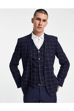 ASOS DESIGN Wedding super skinny suit jacket with window check in navy