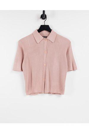 Threadbare Mel knitted short sleeve polo top in peach