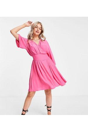 Y.A.S Kimono sleeve mini wrap dress in pink