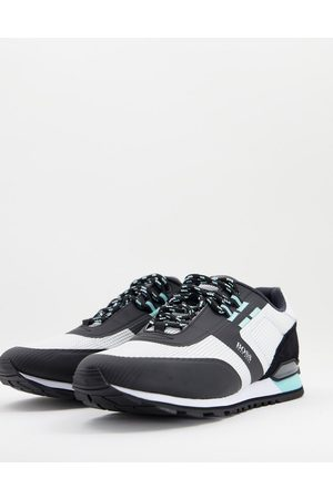 HUGO BOSS Parkour Runn leather mesh mix trainers in grey