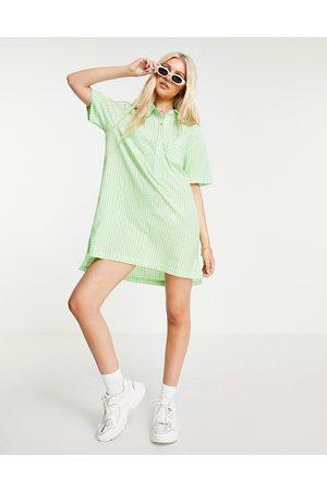 Wednesday's Girl Oversized mini shirt dress in pastel gingham