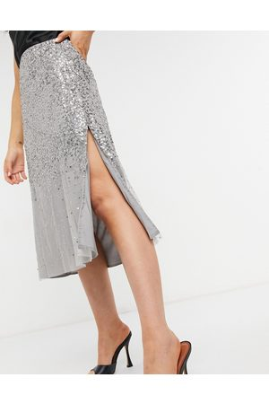French Connection Mujer Midi - Midi skirt in silver sequin