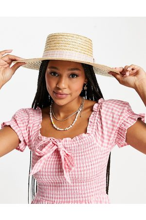 My Accessories London straw boater hat with gingham trim
