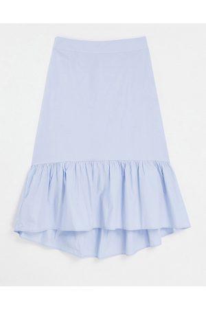 Pieces Organic cotton peplum hem midi skirt in pale blue