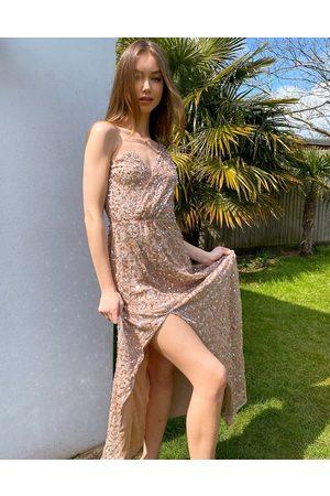 Maya Asymmetric all over embellished maxi dress in blush