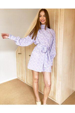 Pretty Lavish Leah tie waist high neck satin shift mini dress in lilac abstract print