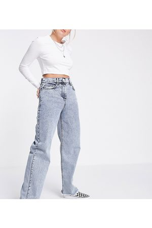 Reclaimed Inspired 90's dad jeans with raw hem in light wash blue
