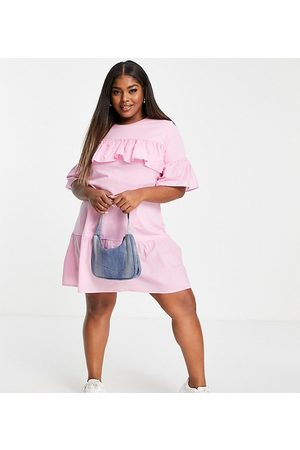 Influence Plus Tiered smock dress in pink