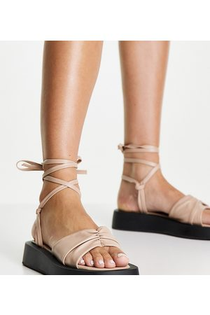 Simmi Wide Fit Simmi London Wide Fit Naeva tie ankle flatform sandals in camel