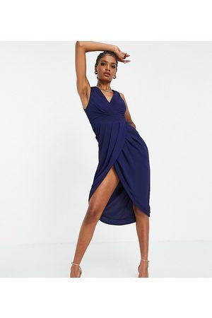 TFNC Mujer De fiesta - Bridesmaid wrap midi dress in navy