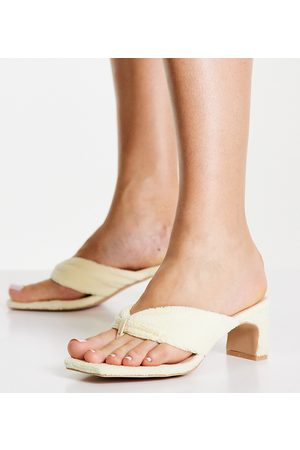 Raid Naryn toe post sandals in cream towelling