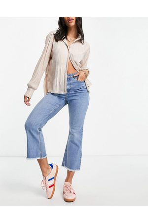 Urban Bliss High rise cropped flared jeans in bleach wash