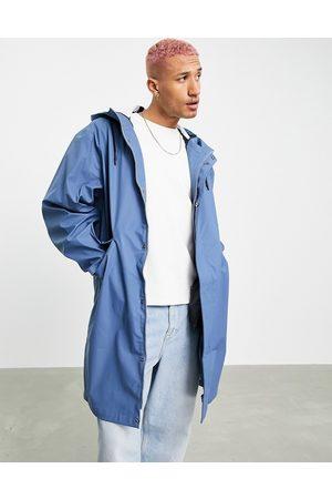 ASOS DESIGN Waterproof rubberised rain jacket in blue