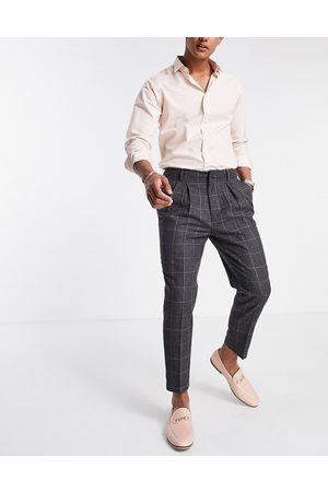 ASOS Tapered smart trousers in wool mix check