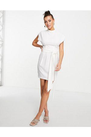 Closet Belted tie waist mini dress in ivory