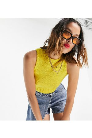 COLLUSION Shrunken knitted tank in yellow