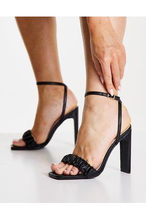 Raid Waverly ruched heeled sandal in black