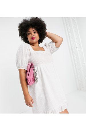 Lola May Curve Lola May Plus drop hem broderie mini dress in white