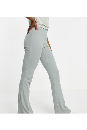 Noisy May Organic cotton blend ribbed flared trousers in sage