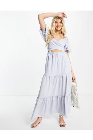 Skylar Rose Puff sleeve tiered maxi dress with tie back in blue
