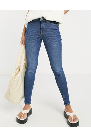 Selected Femme organic cotton blend Sophia skinny jeans with mid rise in dark blue
