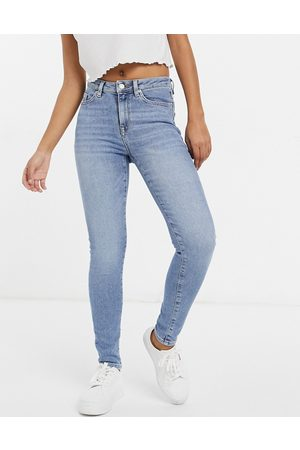 Selected Femme Sophia organic cotton blend skinny jeans in mid blue wash