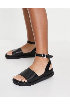 Glamorous Chunky flat sandals with ankle strap in black