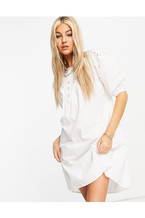 Only Poplin mini dress with broderie detail in white