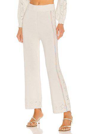 LOVESHACKFANCY Pantalón toro en color blanco talla L en - White. Talla L (también en M, S, XS).