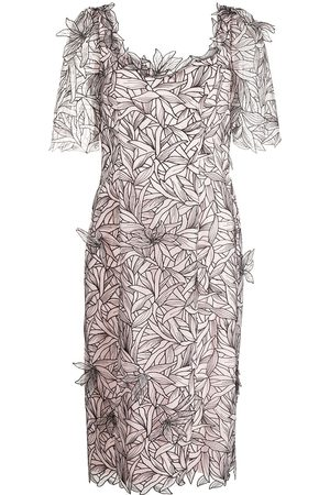 Marchesa Notte Mujer Cóctel - Vestido bordado manga corta