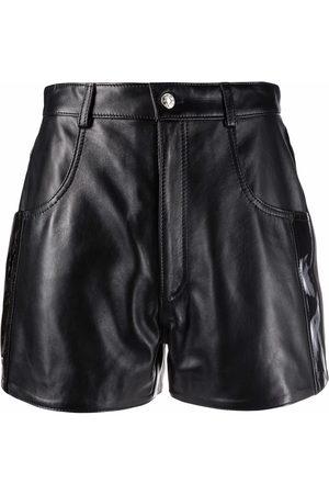 Manokhi Shorts de cuero con tiro alto