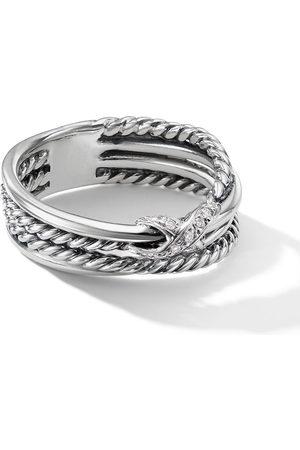 David Yurman Anillo Crossover X en plata de ley con diamantes en pavé