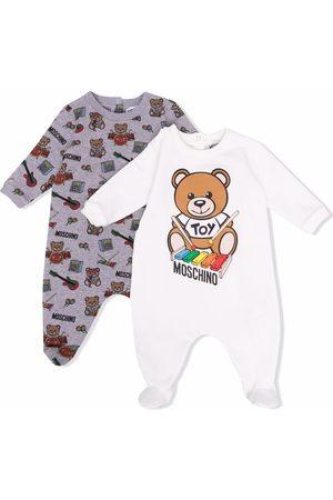 Moschino Conjunto de mameluco con motivo Teddy Bear