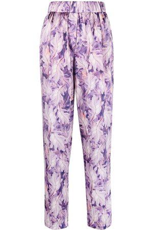 FORTE FORTE Pantalones con hojas estampadas