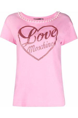 Love Moschino Playera con logo estampado