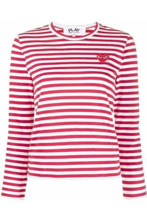 Comme des Garçons Heart-motif striped top