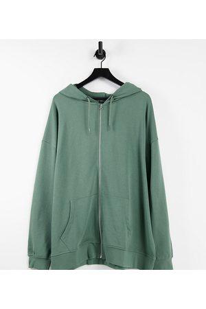 ASOS Curve ASOS DESIGN Curve organic cotton super oversized zip through hoodie in olive green