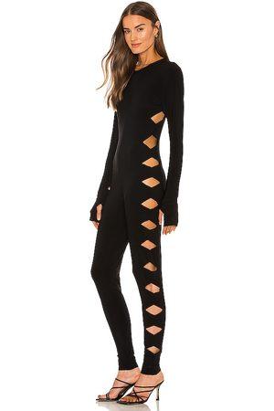 Norma Kamali Long sleeve crew neck alligator catsuit en color talla L en - Black. Talla L (también en M, S, XS).