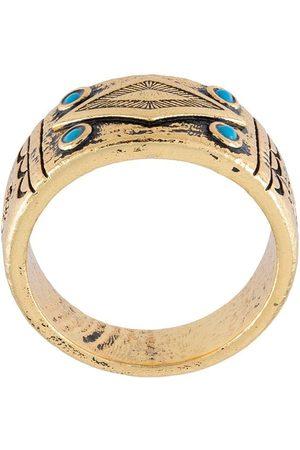 Nialaya Jewelry Hombre Anillos - Anillo con diseño grabado y apliques de ónix