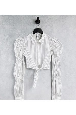 COLLUSION Cropped shirt with tie detail and puff sleeves