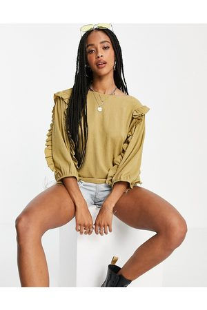 Object Mujer Blusas - Frill sleeve blouse in khaki