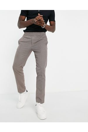 River Island Smart joggers in heritage brown check