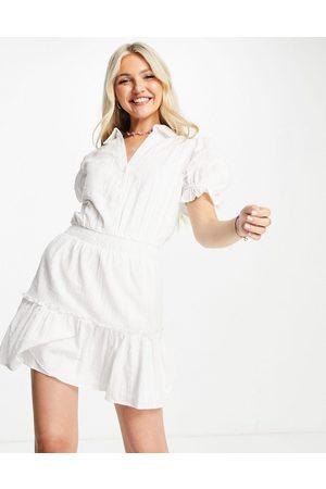 Skylar Rose Textured mini dress in off white