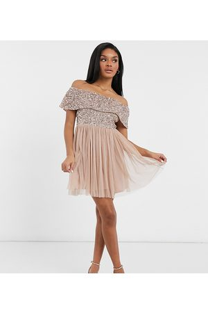 Maya Petite Bridesmaid off shoulder mini tulle dress with tonal delicate sequin in taupe blush