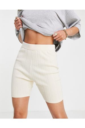 & Other Stories Recycled wool knitted legging shorts in off white