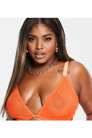 We Are We Wear Curve eco mesh sheer triangle bralette in red / orange